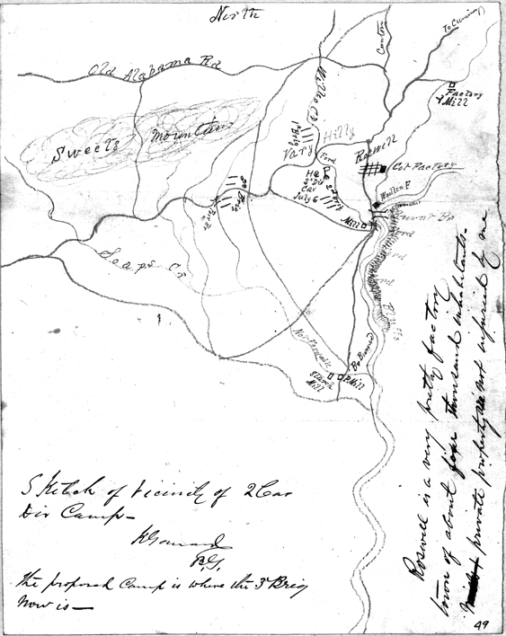 Map drawn by General Kennar Garrard