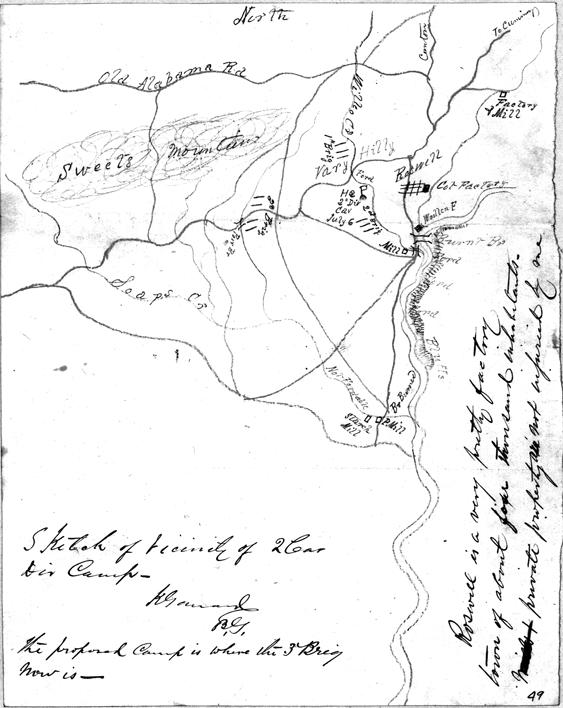 Map drawn by General Kennar Garrard